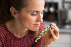 Young housewife enjoying fresh rosmarinus. In kitchen Stock Photos