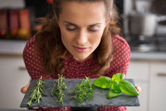 Young housewife enjoying fresh spices herbs Stock Image