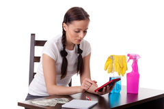 Young housewife. Family budget. Royalty Free Stock Photo