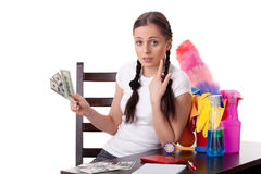 Young housewife. Family budget. Stock Photos