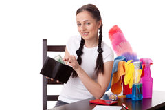 Young housewife. Family budget. Stock Photo