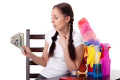 Young housewife. Family budget. Royalty Free Stock Images
