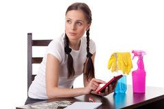 Young housewife. Family budget. Stock Image
