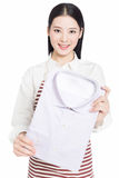 Young housewife ironing Stock Photo