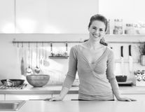 Young housewife in modern kitchen Royalty Free Stock Images