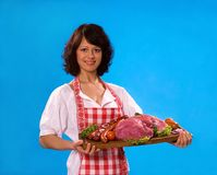 Young housewife offers meat products Royalty Free Stock Images