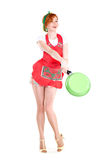 Young housewife with the pan in her hands Royalty Free Stock Photos