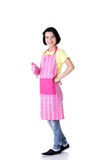Young housewife in pink apron Royalty Free Stock Images