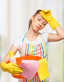 Young housewife is tired of housework Stock Image