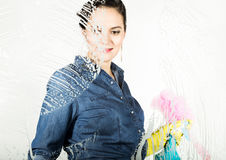 Young housewife washed window with a spray, cloth and detergent. Large glass in foam. Housework concept. Young housewife washed window with a spray, cloth and Stock Image