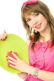 Young housewife washing the dishes Stock Image