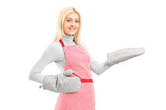 Young houswife wearing cooking mittens and apron Royalty Free Stock Photo