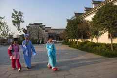 The young huangmei opera actor walked in the town of kuizi Stock Images