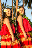 Young hula dancers Stock Photo