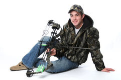 Young hunter with bow Royalty Free Stock Photo