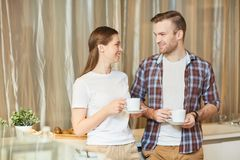 Talking by tea stock image
