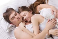 Young husband and  wife sleepping Stock Photography