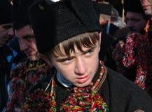 Young hutsul singing christmas carol Royalty Free Stock Image
