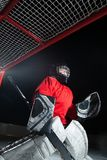 A young ice-hockey goaltender royalty free stock image
