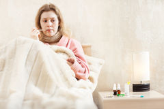 Young ill woman Stock Photos