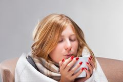 Young  ill woman Stock Images
