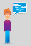 Young imagination. Cartoon illustration of a young guy imaginating royalty free illustration