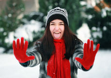 Young impudent woman in winter Royalty Free Stock Image