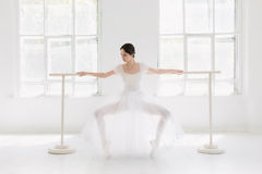 Young and incredibly beautiful ballerina is posing and dancing in a white studio Stock Photography