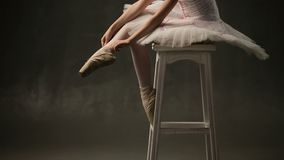 Girl Ballerina Posing In Studio stock video footage