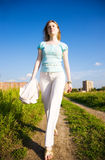 Young independent woman walking Royalty Free Stock Photography