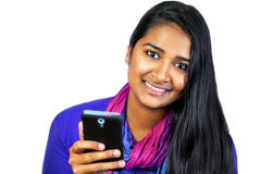 Young india woman with smartphone3 Stock Photo
