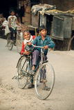 Young indian  on bicycles Royalty Free Stock Photo