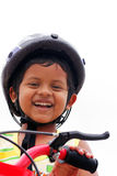Young indian boy with helmet expressing happiness Stock Image