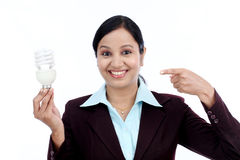 Young Indian business woman holding bulb Royalty Free Stock Images