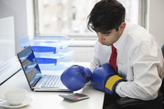 Young Indian businessman wearing boxing gloves while using calculator at office desk Stock Photo