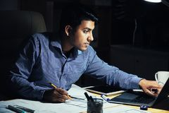 Engineer drawing apartment plan royalty free stock photos