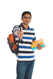 Young indian college male with thumbs up Stock Photo