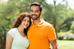 Young indian couple. Portrait of beautiful young indian couple outdoors Stock Image