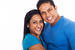 Young indian couple. Portrait of young indian couple over white background Stock Photo