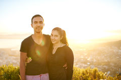 Young Indian couple together outdoors on a sunny morning Royalty Free Stock Image