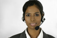 Young Indian female helpdesk operator Stock Image