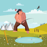 Young Indian fisherman. Indian fishing in a pond stock illustration
