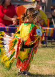 Young Indian Girl. Dancer. beautiful costumes and energy at an Indian Powwow in Houston, Texas 2016 Royalty Free Stock Photo
