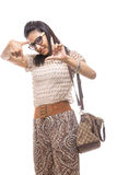 Young Indian girl with handbag posing Stock Photos