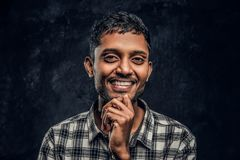 Young Indian guy wearing a checkered shirt holding hand on chin, smiling and looking at a camera in a studio stock image