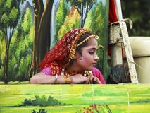 Young Indian Krishna Devotees. A young Indian Krishna devotees dresses as Radha(Wife of Lord Krishna) during Rathayatra festival in Kolkata,West Bengal,India stock photography