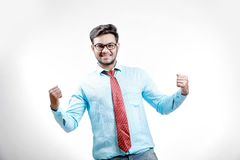 Young Indian male model on spectacles. Young man on shirt and tie Royalty Free Stock Photos