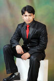 Young indian man looking with confidance. A portrait of young indian man looking with confidence wearing red tie and black suit Stock Images
