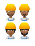 Young indian men wearing a protection helmet avatar set Stock Image