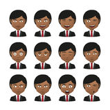 Young indian men wearing suit avatar expression set Royalty Free Stock Photo